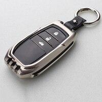 Remote Car Covers Key Holder For Toyota Hanlander Prado Crown Levin Hybrid Corolla Reiz Car Styling Case Shell Zinc Accessories
