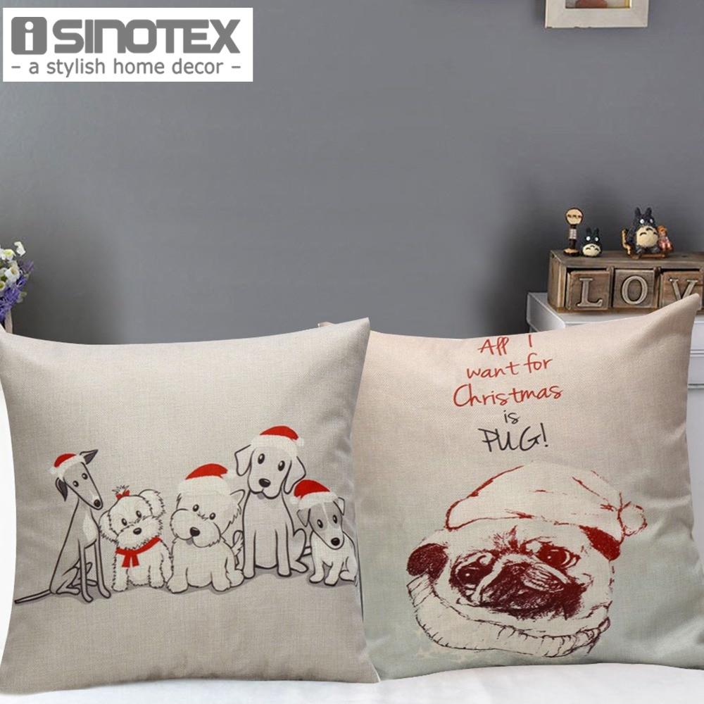 ②Navidad decorativos Cojines Tapas perro en Navidad sombrero patrón ...