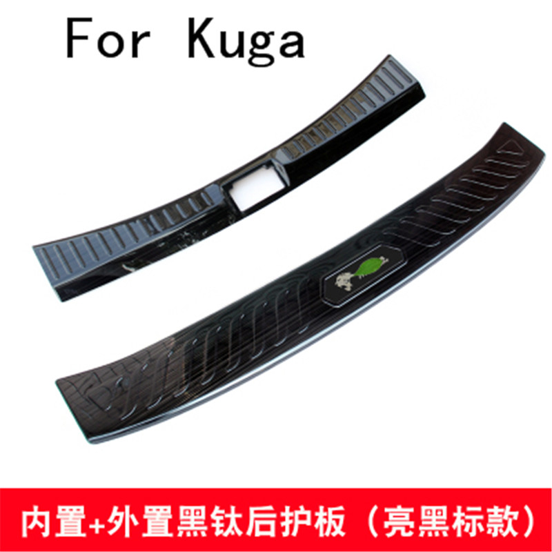 Black titanium Stainless Steel Rear Bumper Protector Sill Trunk Tread Plate Trim For Ford Kuga 2013-2018 Car styling купить в Москве 2019