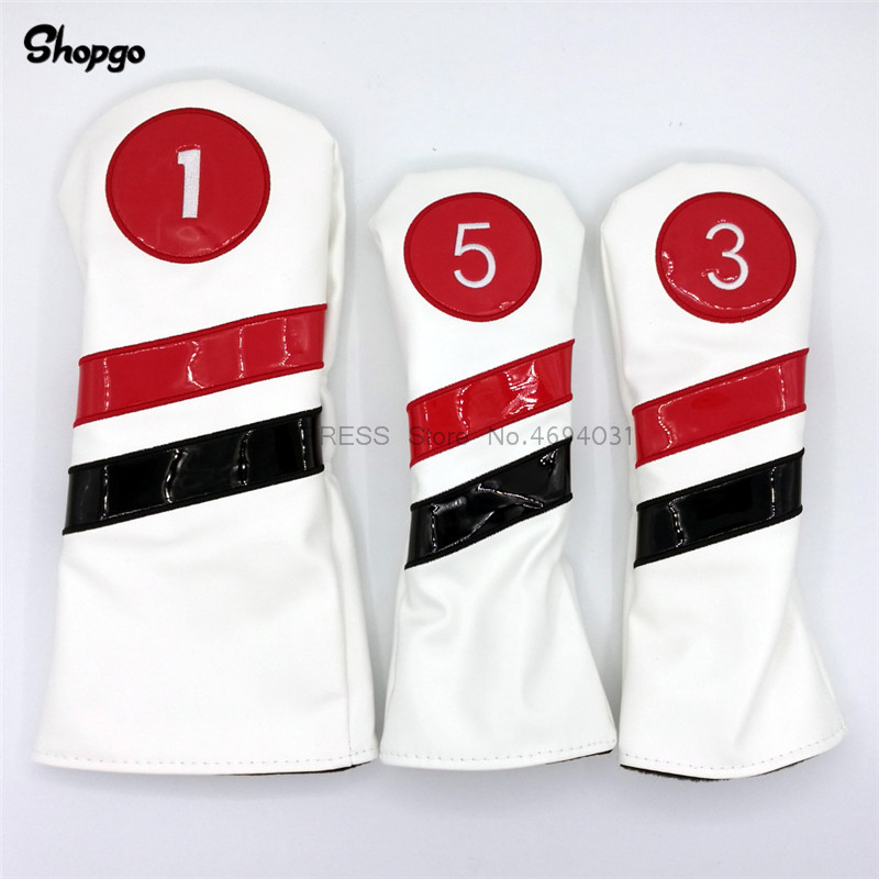[2 Colors] SHOPGO Golf Clubs Headcovers Golf Driver Fairway Woods Covers 1 3 5 PU Leather Complete Set 3pcs/lot Free Shipping