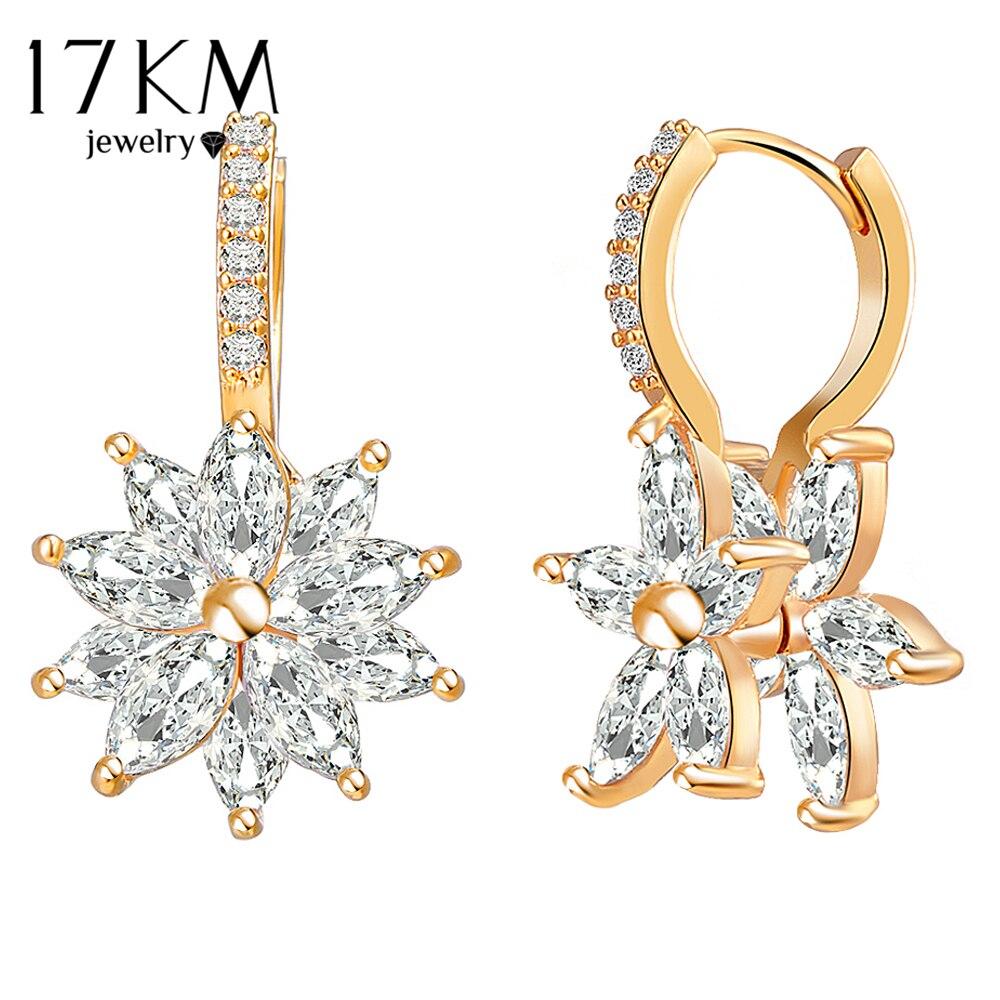 17 Km Mode Kristall Blume Hoop Ohrringe Für Frauen 2018 Brincos Erklärung Zirkonia Ohrring Hochzeit Schmuck Zubehör Hohe Sicherheit