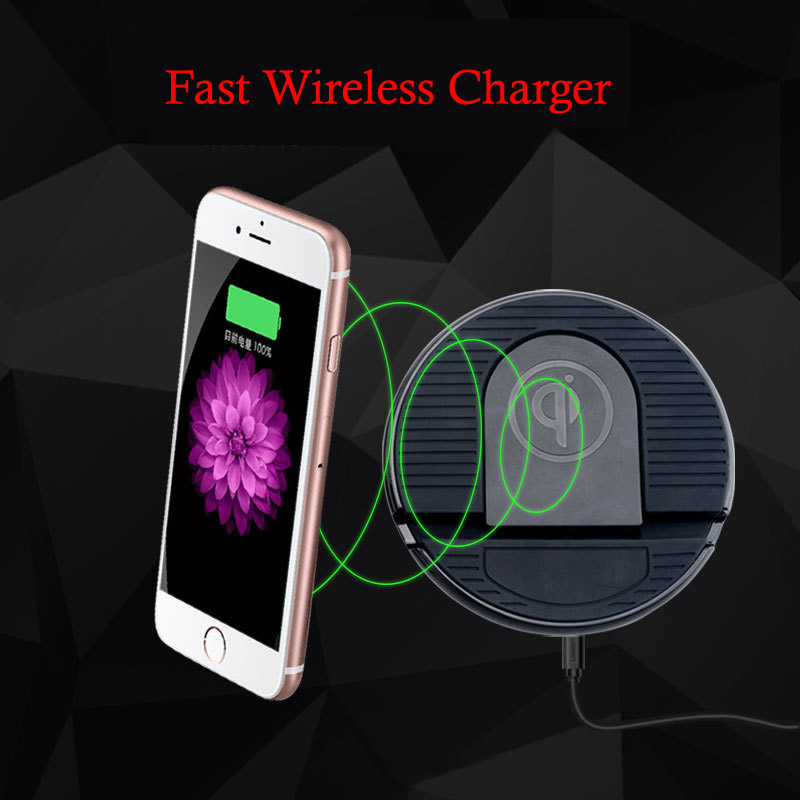 iFavor New Mobile Phone Circular Fast Wireless Charger Universal Car Home Cell Phone Stands Base Foldable Wireless Charging Pad