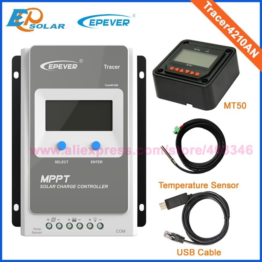 40A MPPT EPEVER TRACEUR de Charge Solaire Contrôleur 12V24V LCD Diaplay EPSolar Régulateur Temp Capteur RS485 Câble Tracer4210AN