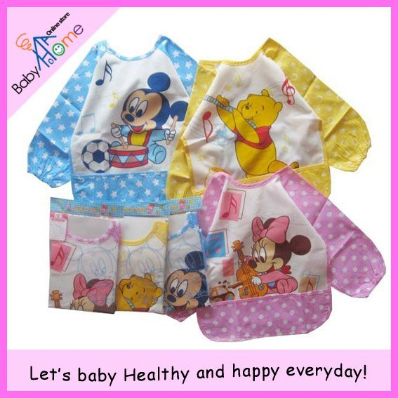 Baby bib > apparel with mouse or bear pattern > baby girls and boys > Waterproof feeding smock / vesture.
