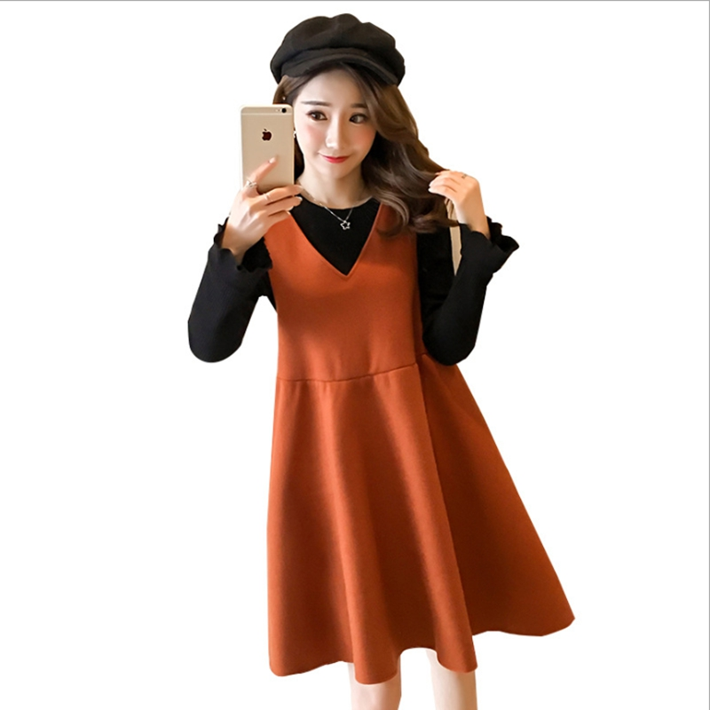 Pregnant women dress + pregnant women sweater 2 set cotton bow vestidos autumn and winter maternity pregnant womens clothes