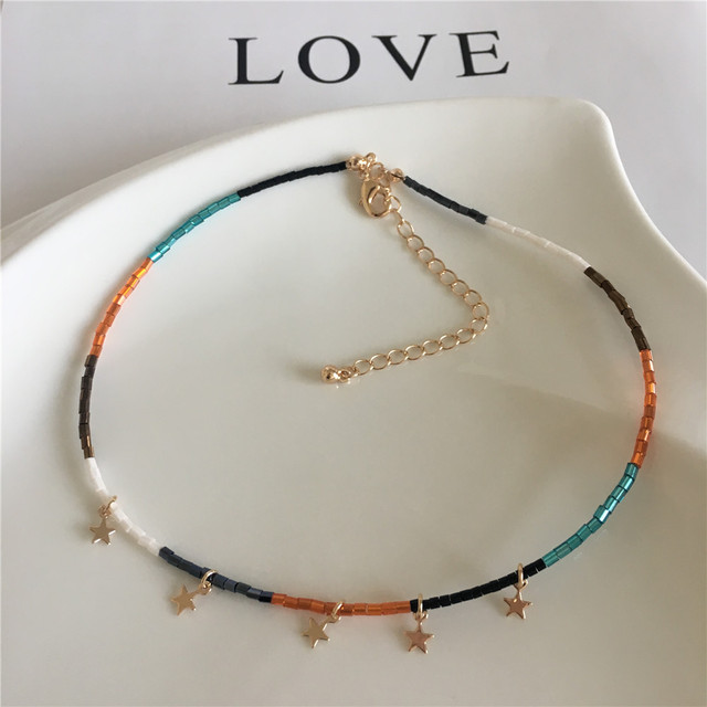 Colorful Bead Necklace With Small Star Charm 3