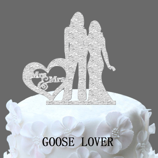 Personalized Heart Wedding Cake Topper Same Sex Wedding,Two Brides Cake  Stand Gift Lesbian Wedding