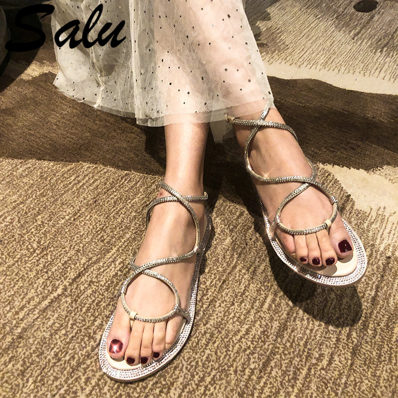 Salu Elegant Casual Women Sandals Summer Genuine Sheepskin Leather Shallow Basic Shoes Woman Comfortable Fashion Slippers