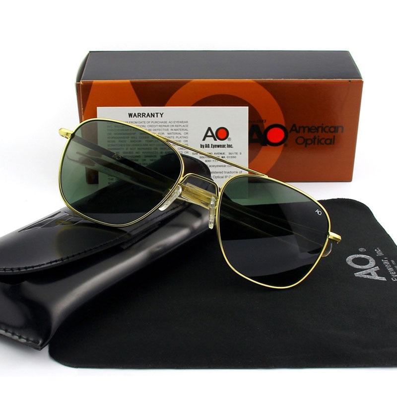 AO SunGlasses Men Women Army Military Aviation Pilot Sun Glasses Driving Shades Male Brand Designer Glass Lens Original box in Men 39 s Sunglasses from Apparel Accessories
