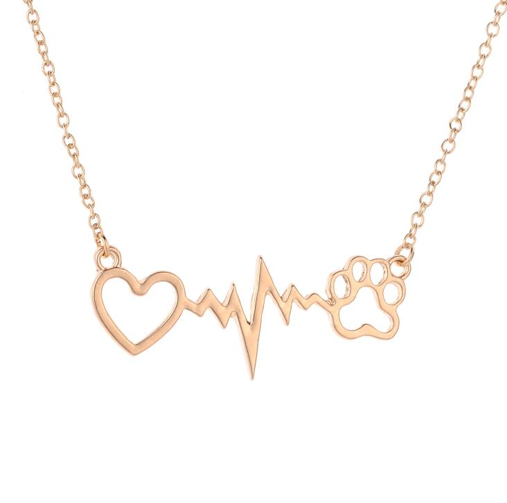 Personality Fashion Love Bear Paws Dog Paws Dog Footprints ECG Heart Beat Clavicle Chain Dropship Accepted YP3903
