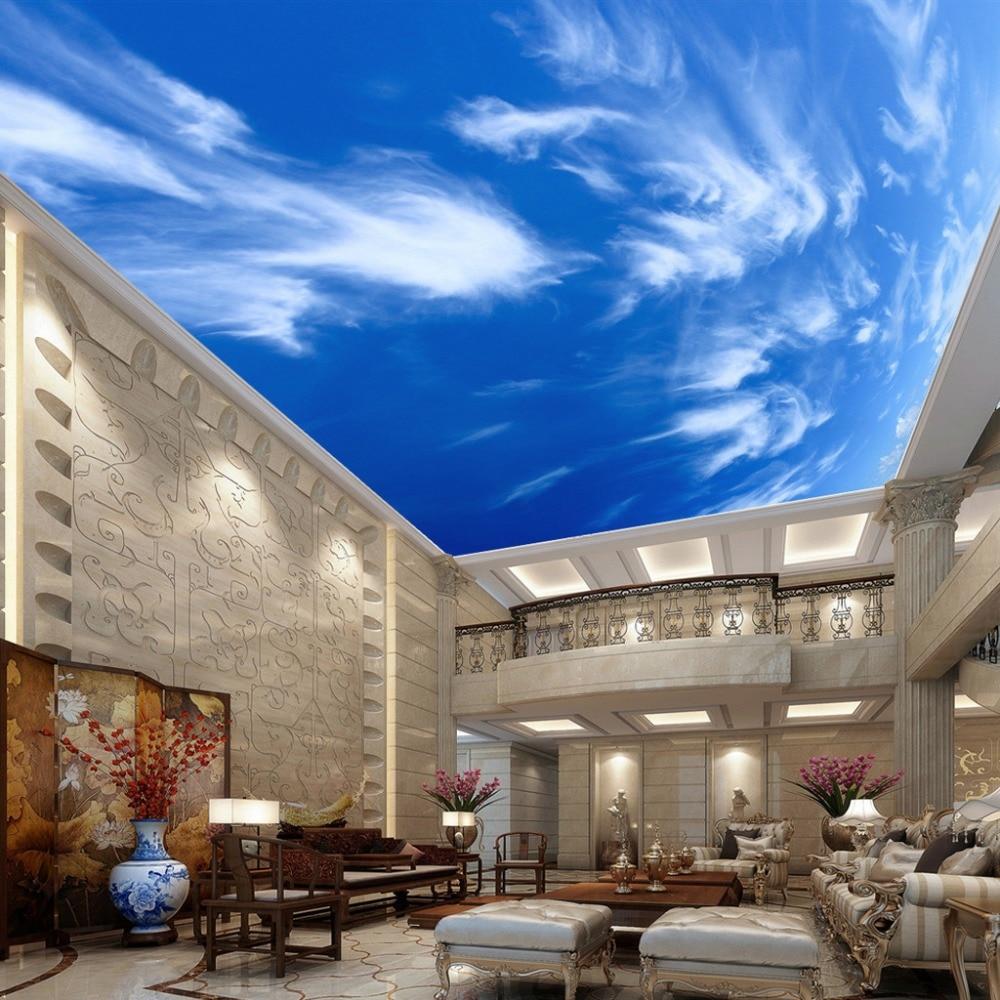 Custom Painting Blue Sky White Clouds Ceiling Wall Mural Modern Designs 3D Living Room Bedroom