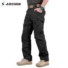 Ix9 97% algodão calças de carga tático militar dos homens swat combate do exército masculino casual muitos bolsos estiramento calças algodão
