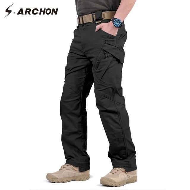 S. ARCHON IX9 Cidade Militar Carga Calças Tactical SWAT Calças de Combate Do Exército Dos Homens Casuais Masculinos Muitos Bolsos de Algodão Stretch calças