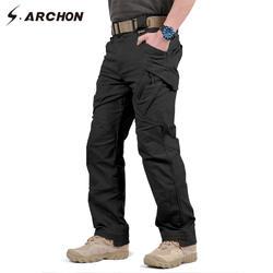S. ARCHON IX9 город военно-тактические штаны-карго Для мужчин SWAT армейском брюки мужские Повседневное много карманов стрейч хлопок брюки