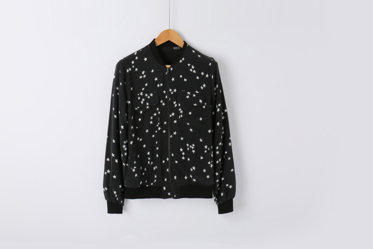 Ladies 100% silk black star print women long sleeve baseball jacket silk outwear spring autumn