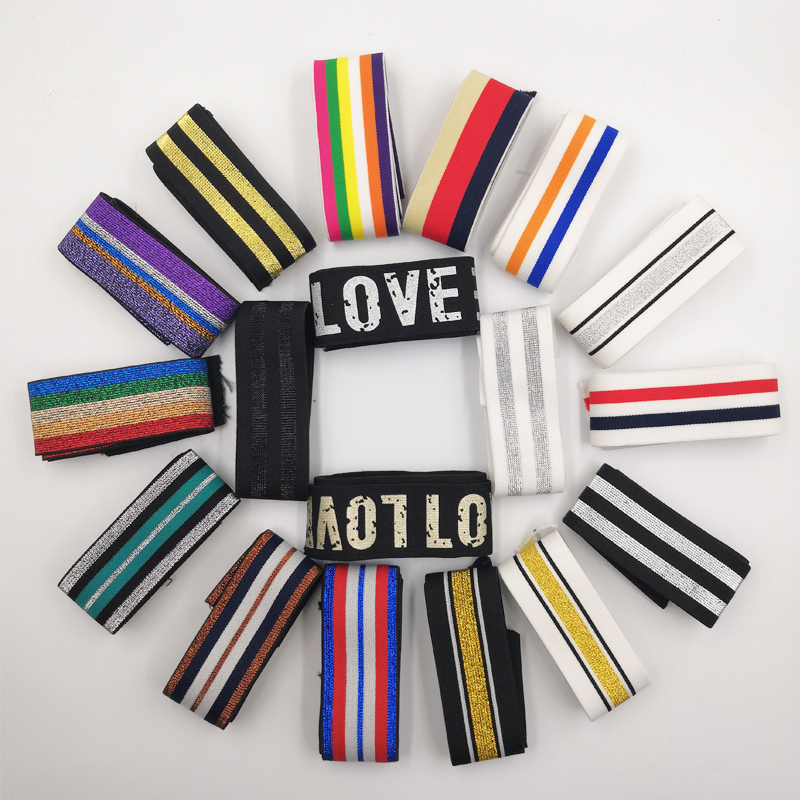 40MM Nylon Colorful Rubber Elastic Band Striped Shoulder Bottom Straps for Webbing Garment Sewing DIY Clothes Accessories 1Meter