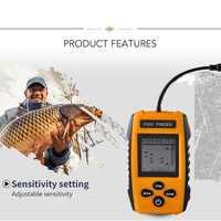 0,7 M Zu 100M Fisch Finder Echolot für angeln 200khz Tragbare Fisch Finder Englisch Echolot 100M Sonar LCD Echo Signalgeber