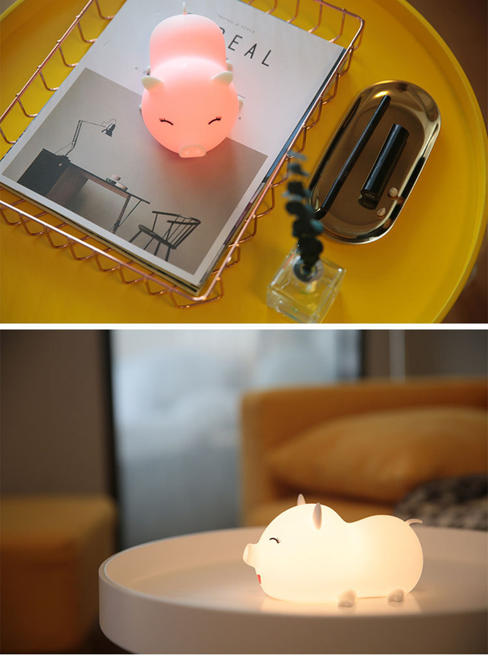 SuperNight Cute Pig LED Night Light Rechargeable Colorful Silicone Animal Touch Sensor Table Lamp Baby Kids Bedroom Bedside Lamp (5)