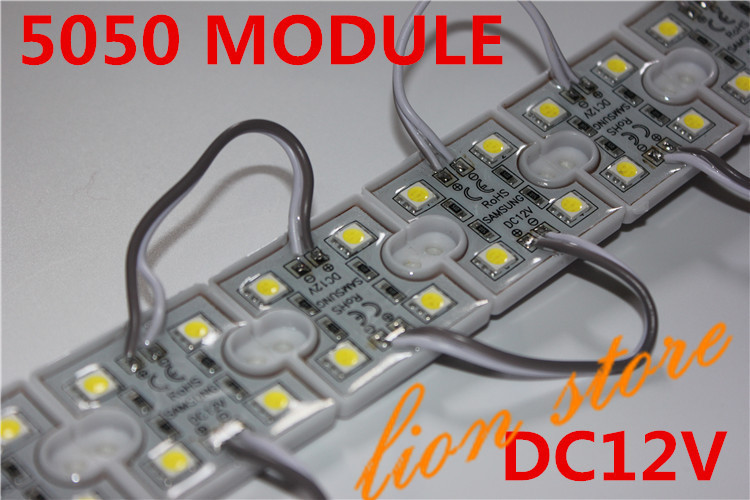 waterproof 100pcs 5050 <font><b>4</b></font> <font><b>LED</b></font> <font><b>Modules</b></font> White 6000k Waterproof IP65 DC12V Free Ship image