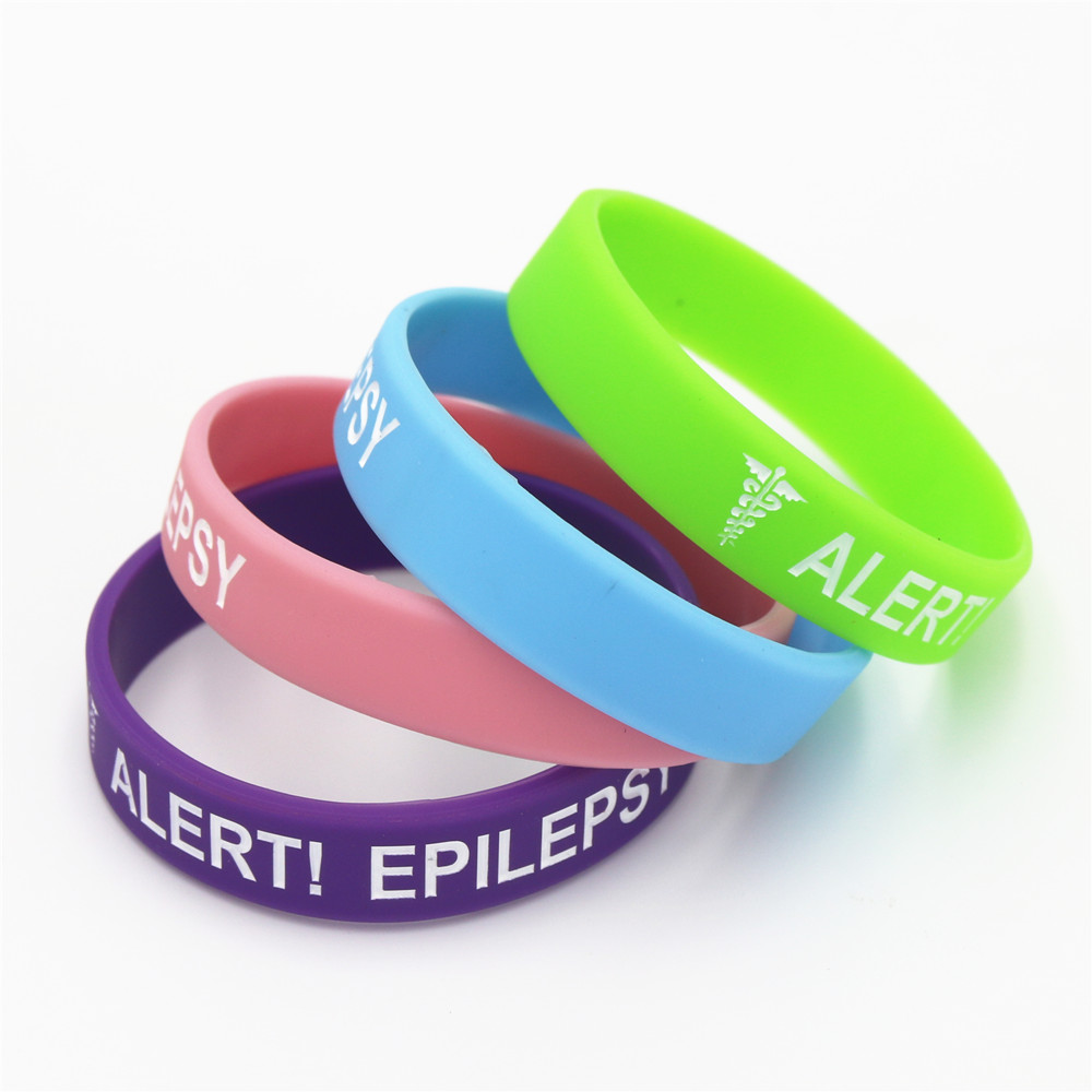 EPILEPTIC ALERT MEDICAL wristband silicone bracelet bangle gift AWARENESS