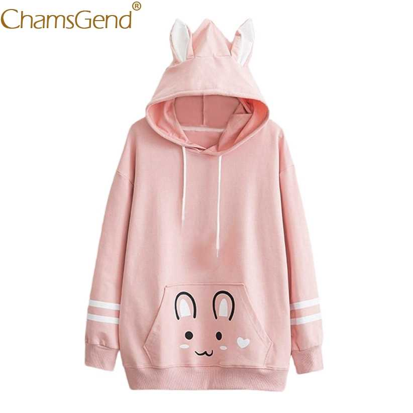 e1ca4d468 Harajuku Kawaii Rabbit Sweatshirts Women Girl Pink White Hoody Blouse Shirts  Spring Autumn Long Sleeve Pullover