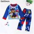 2016 Sleepwear de Manga Comprida Dos Desenhos Animados Pijamas Das Crianças Das Crianças Da Criança Do Bebê Cotten Menino Pijama Newborn Pijama Patrulha Cachorro Roupas