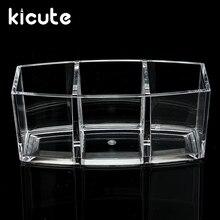 Kicute 1pc Clear Acrylic 3 Pockets Cosmetic Organizer Brush Desk Pen Holder  Display