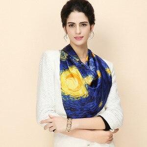 Image 2 - Donkerblauw 100% Real Zijden Sjaal Voor Dames Merk Designer Sjaals Lente Herfst Van Gogh Olieverf Vierkante Sjaals Wraps 90*90Cm