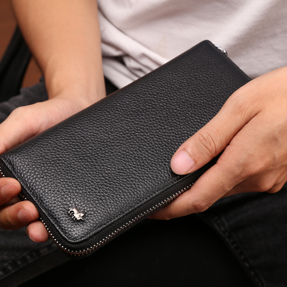 Men/'s natural strong genuine leather wallet with metal zipper around Fast ship.