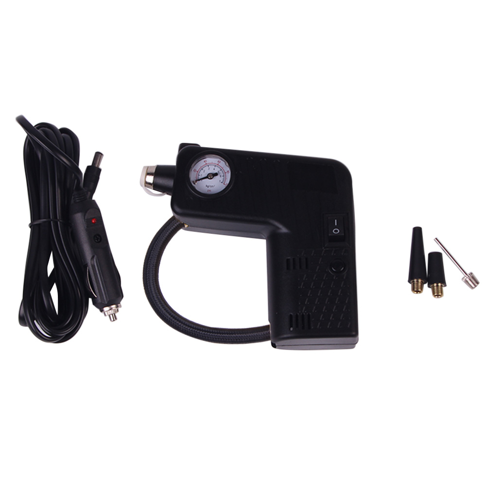 Car Auto Electric Air Compressor Tire Inflator Pump with Cigarette Lighter Plug And Life Saving Hammer Emergency Rescue Tool