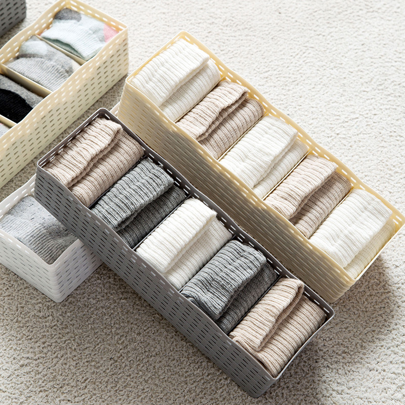 Hoomall 5 Grids Plastic Socks Bra Underwear Storage Boxes Holder Closet For Home Living Room Organizers Bins High Quality