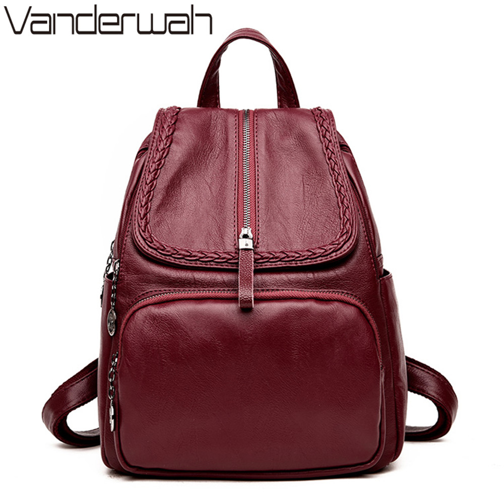 VANDERWAH Brand NEW Casual Women Backpack School Bags For Teenagers Solid Female High Quality Leather Backpacks Zipper Bagpack
