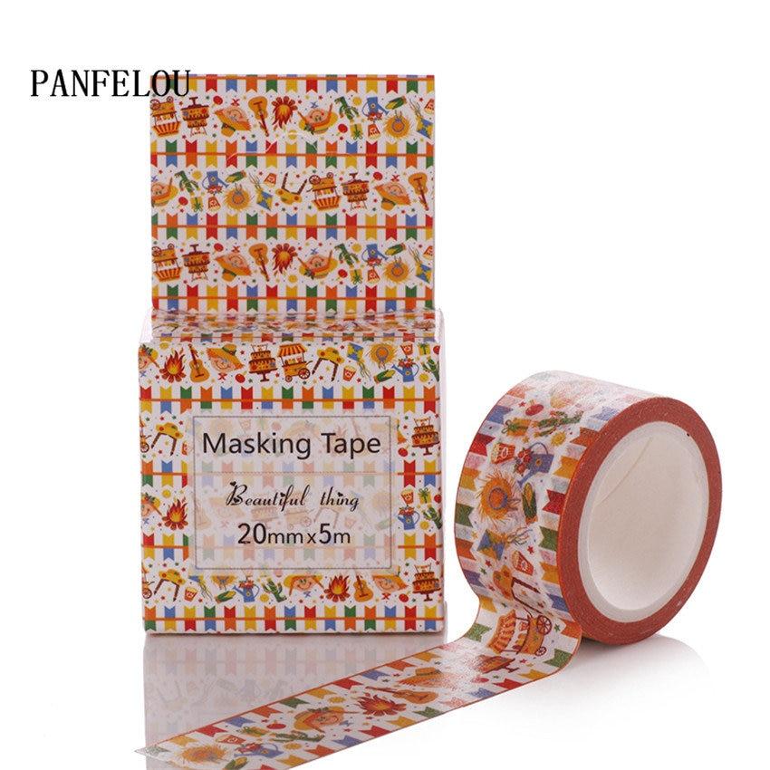 PANFELOU 2CMx5M gathering cartoon Stickers border masking adhesive line paper washi tape DIY Scrapbooking Hand account