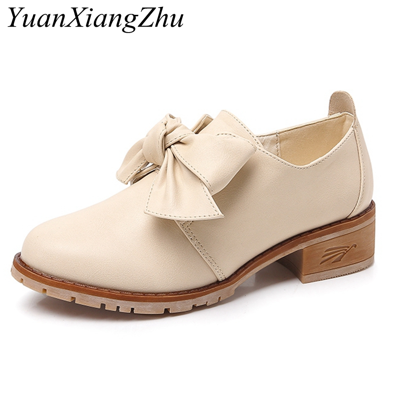 2018 New arrival Split Leather Women Square Heel Flat Platform Shoes Woman Oxford Shoes bow Slip on Women Flats Big size 34-43 silvian heach silvian heach si386ewjpw93