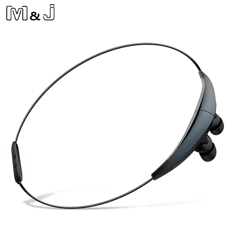 M&J J6 Magnetic Sport Necklace Wireless Bluetooth Earphones Stereo Noise Cancelling With Microphone Earbuds for iPhone Samsung