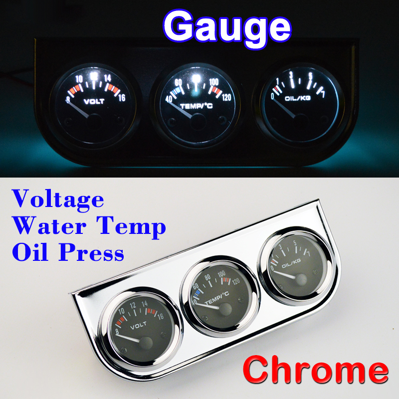DRAGON GAUGE Car Gauge Voltage + Water Temperature + Oil Press Gauge Chrome Holder Car Meter 3 In 1 Kit Triple Dashboard dragon gauge car triple guage 52mm voltage water temp celsius or fahrenheit oil press black chrome bezel 3 in 1 kit meter