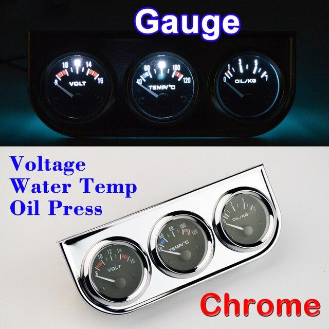Dragon Gauge Car Voltage Water Temperature Oil Press Chrome Holder Meter