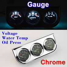 DRAGON GAUGE Car Gauge Voltage + Water Temperature + Oil Press Gauge Chrome Holder Car Meter 3 In 1 Kit Triple Dashboard