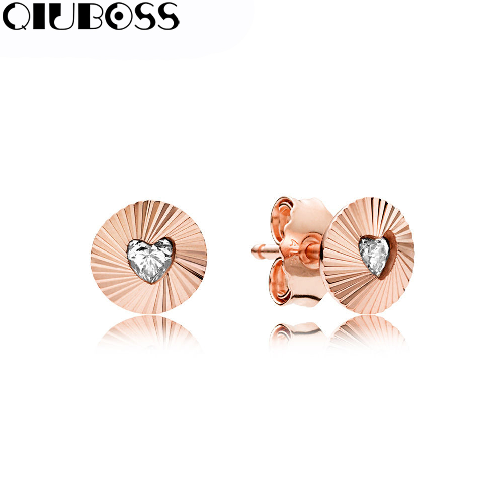 QiuBoss 100% 925 Sterling Silver Rose Vintage Fans Earring Studs Fit DIY Original Jewelry Summer Creative