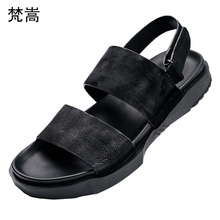 купить men's Genuine Leather sandals summer breathable Roman sandals Slippers Flip Flops casual Shoes men beach anti-skid outdoor male дешево