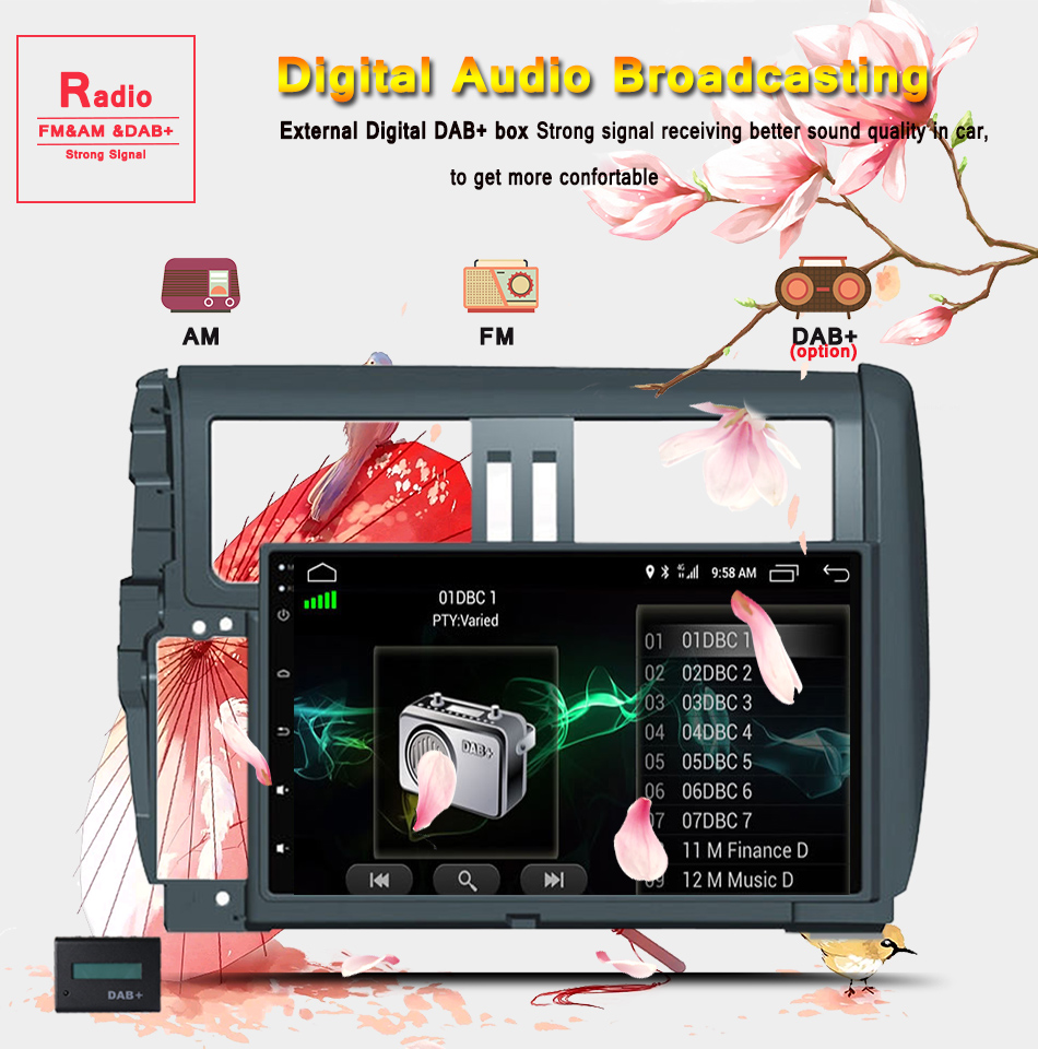 """Top 9"""" Android 9.0 Car Stereo radio Audio for Toyota Prado 150 2010 11 2012 2013 1024*600 Octa Core Multimedia 2 din car dvd player 11"""