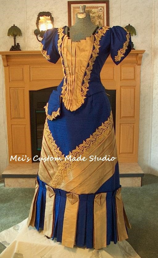 Custom Made 18th Era – Worth Reproduction Victorian Bustle Ball Gown/Party Costume