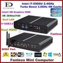 Barebone PC NUC Intel Core i7 5500U HD Graphics5500 безвентиляторный Мини-ПК Windows10 настольных ПК, 2 HDMI, SD карт, 4 К HTPC, Mini-ITX Micro PC