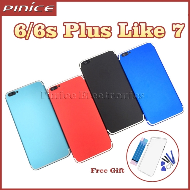 Colorful Housing For iPhone 6Plus 6SPlus Like 7 Aluminum Metal Back Case Housing Battery Door Cover Replacement Like i7 style