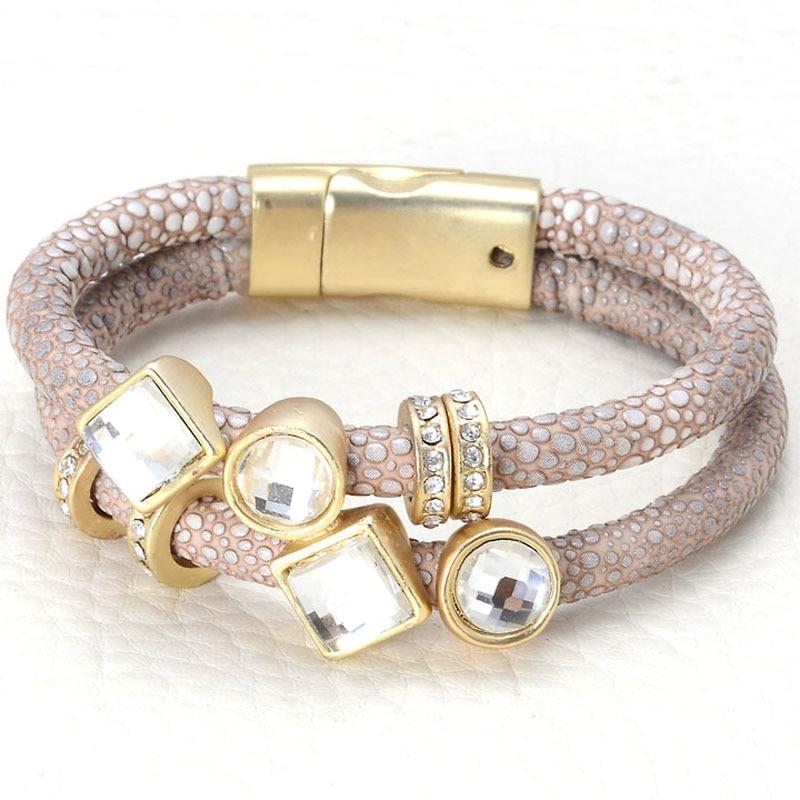 Magnetic Charm Bracelet: Leather Charm Bangle Magnetic Bracelets With Crystal Charm