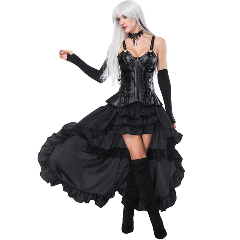 Women Vintage Steampunk   Corset   Dress Retro Gothic   Corset   Punk Binder Burlesque Lace   Corset   And   Bustiers   Long Irregular Skirt Set