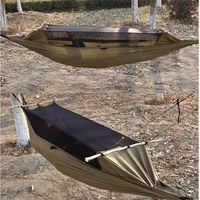 SGODDE 300D Polyester Mesh Maximum Load Travel Jungle Camping Outdoor Hammock Hanging Nylon 260x90cm Hot Sale