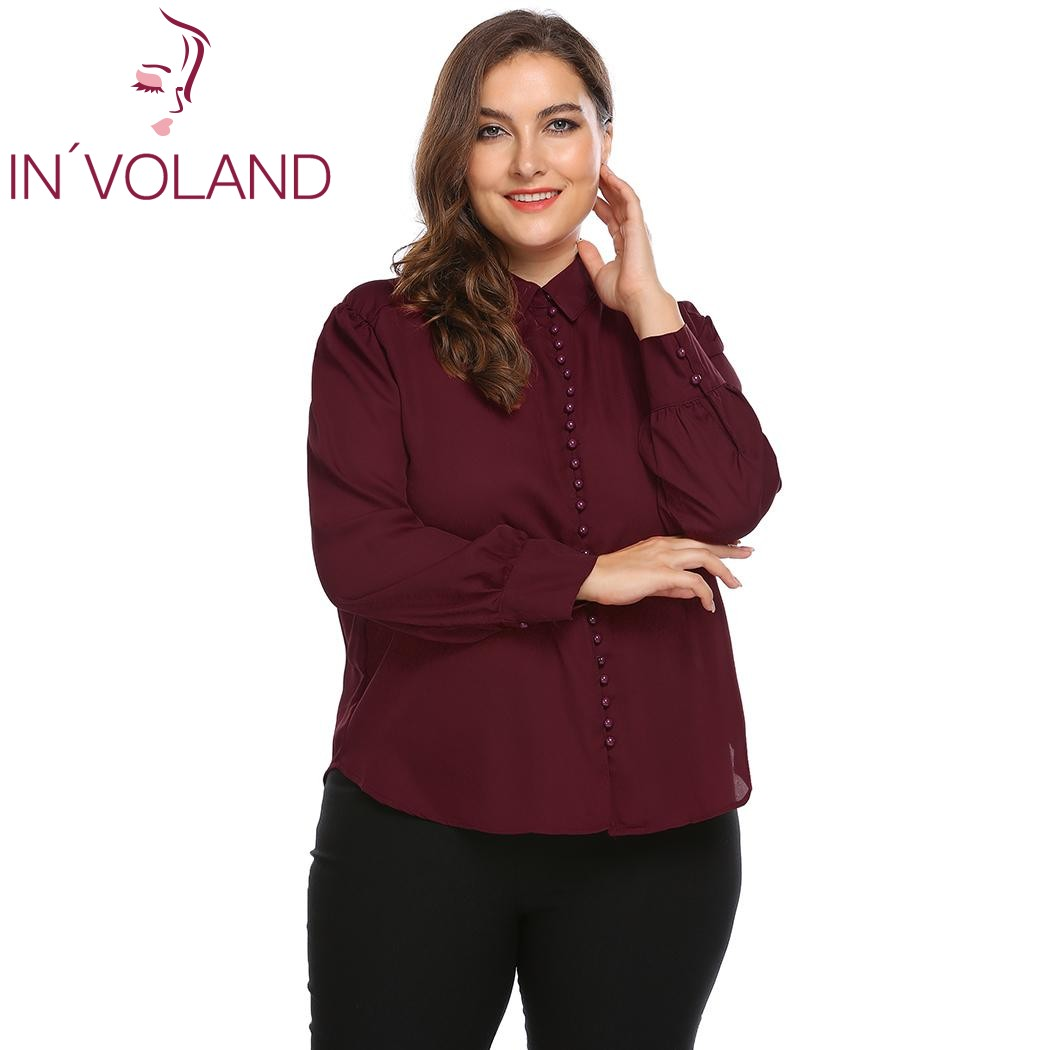 IN'VOLAND Plus Size XL-4XL Women Blouse Blusas Tops Spring Autumn Loose Curved Hem Button Down Large Shirt Pullovers Big Size