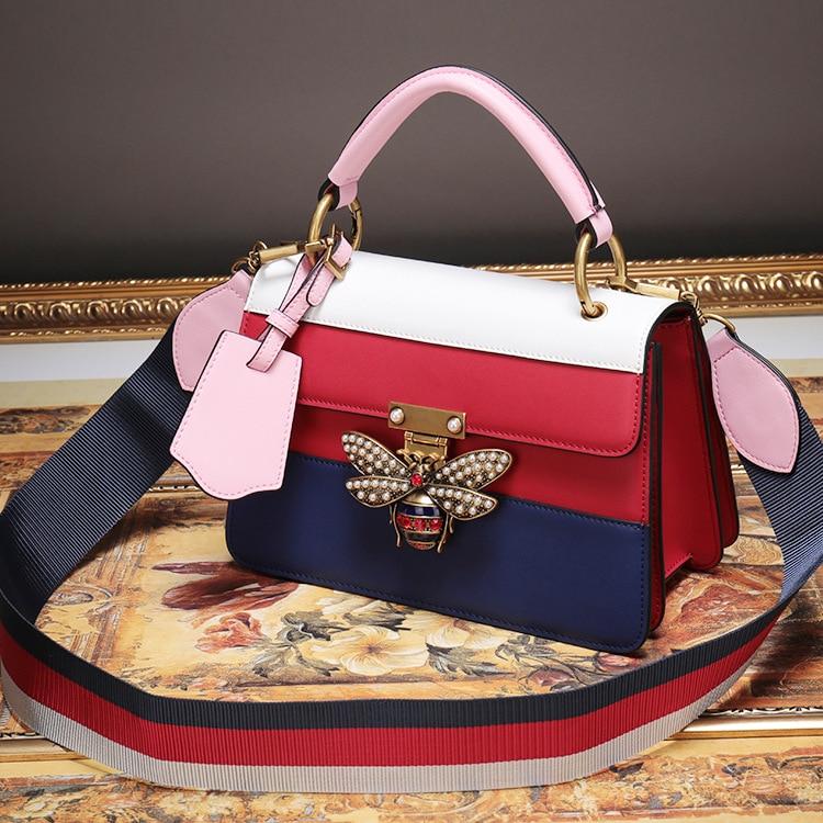 Fashion Women Messenger Bag New Brand Stripes Leather Female Shoulder Bag Luxury Diamond Little Bee Woman Handbags Strap Bags