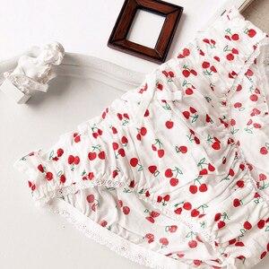 Image 4 - Wriufred kiraz baskılı pamuklu kız kalp öğrenci sutyen seti tel ücretsiz yumuşak fincan iç çamaşırı büyük toplanan tüp üst iç çamaşırı setleri